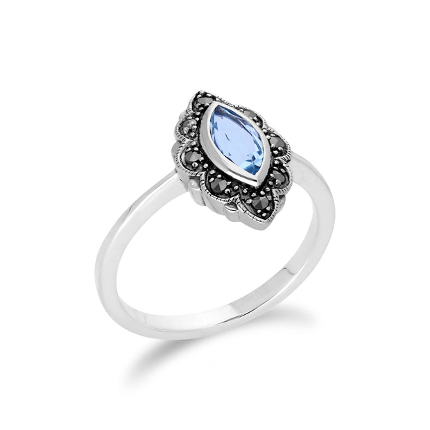 Art Nouveau Marquise Blue Topaz & Marcasite Leaf Ring in 925 Sterling Silver