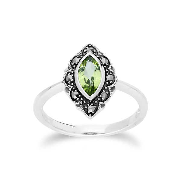 Art Nouveau  Marquise Peridot & Marcasite Leaf Ring in 925 Sterling Silver
