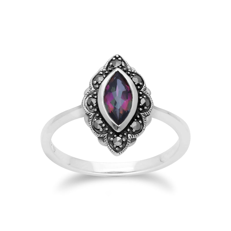 Art Nouveau Marquise Mystic Topaz & Marcasite Leaf Ring in 925 Sterling Silver
