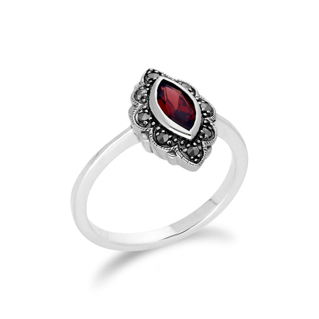 Art Nouveau Style Marquise Garnet & Marcasite Leaf Ring in 925 Sterling Silver