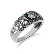 Art Nouveau Style Round Blue Topaz & Marcasite Floral Band Ring in 925 Sterling Silver