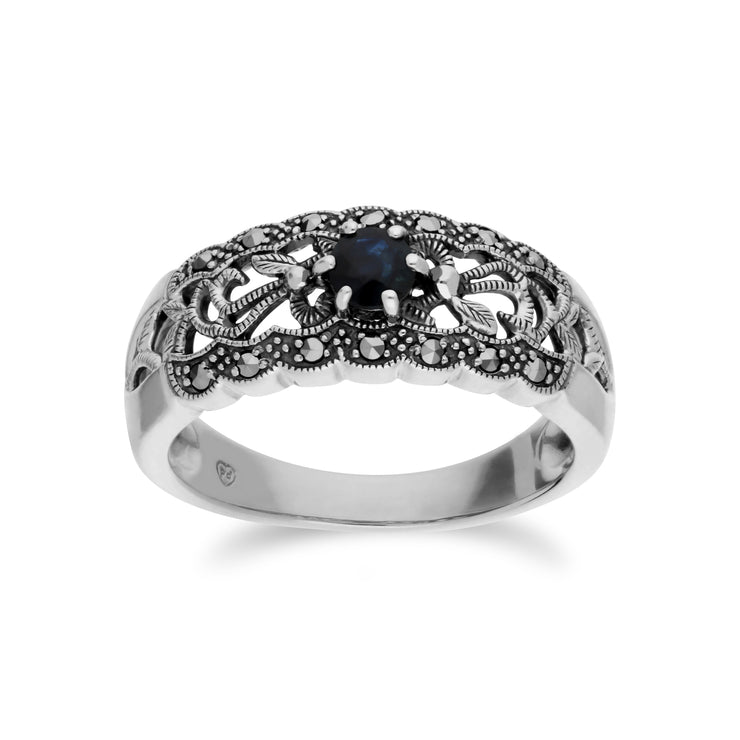 Art Nouveau Style Round Sapphire & Marcasite Floral Band Ring in 925 Sterling Silver