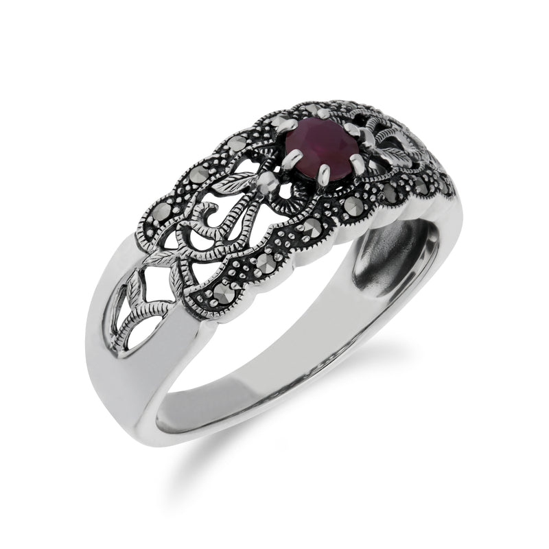 Art Nouveau Style Round Ruby & Marcasite Floral Band Ring in 925 Sterling Silver