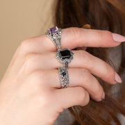 Art Nouveau Style Round Sapphire & Marcasite Floral Band Ring on Model