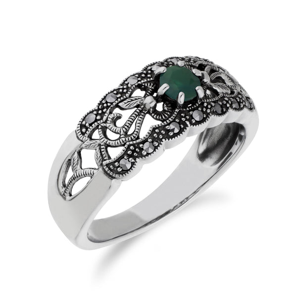 Art Nouveau Style Round Emerald & Marcasite Floral Band Ring in Sterling Silver