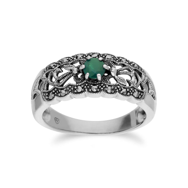 Art Nouveau Style Round Emerald & Marcasite Floral Band Ring in 925 Sterling Silver