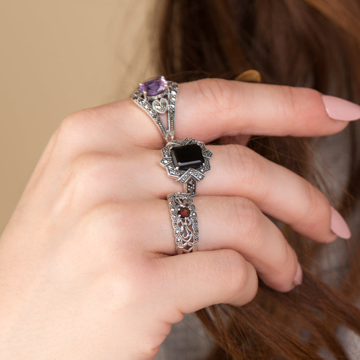 Art Nouveau Style Round Garnet & Marcasite Floral Band Ring in 925 Sterling Silver