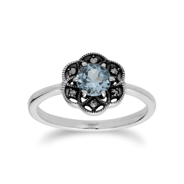 Floral Round Blue Topaz & Marcasite Daisy Ring in 925 Sterling Silver