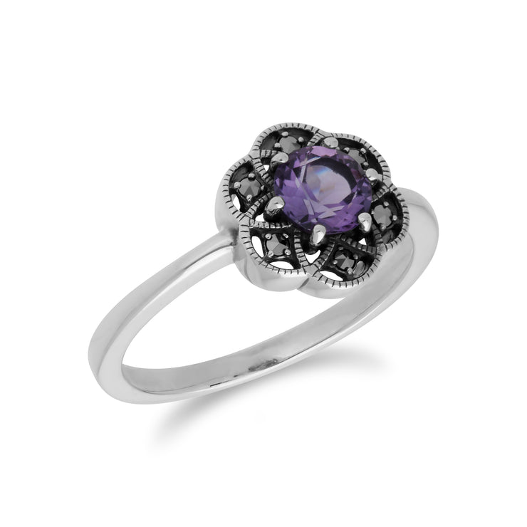 Floral Round Amethyst & Marcasite Silver  Daisy Ring