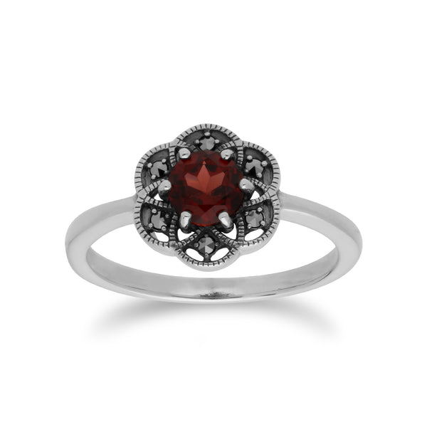 Floral Round Garnet & Marcasite Daisy Ring in 925 Sterling Silver