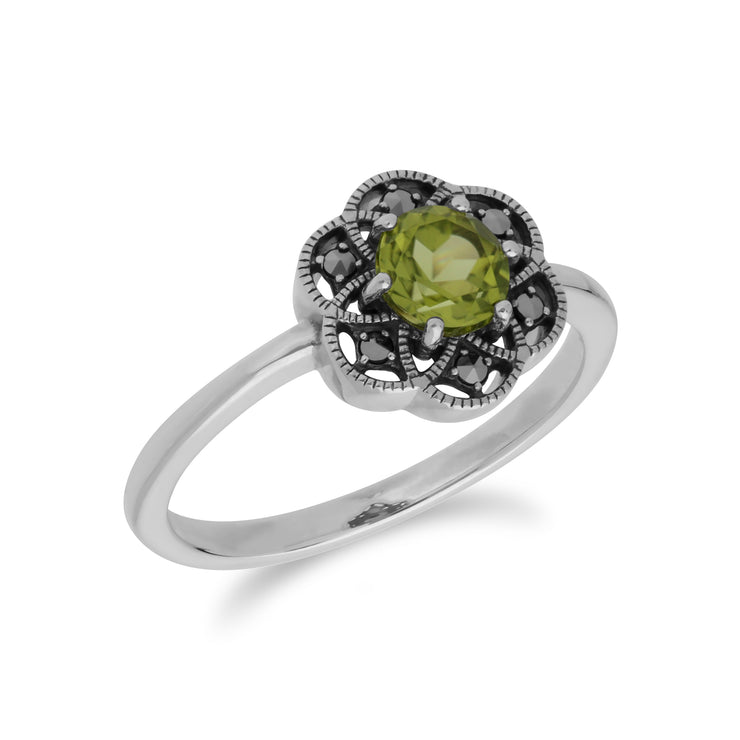 Floral Round Peridot & Marcasite Daisy Ring in 925 Sterling Silver
