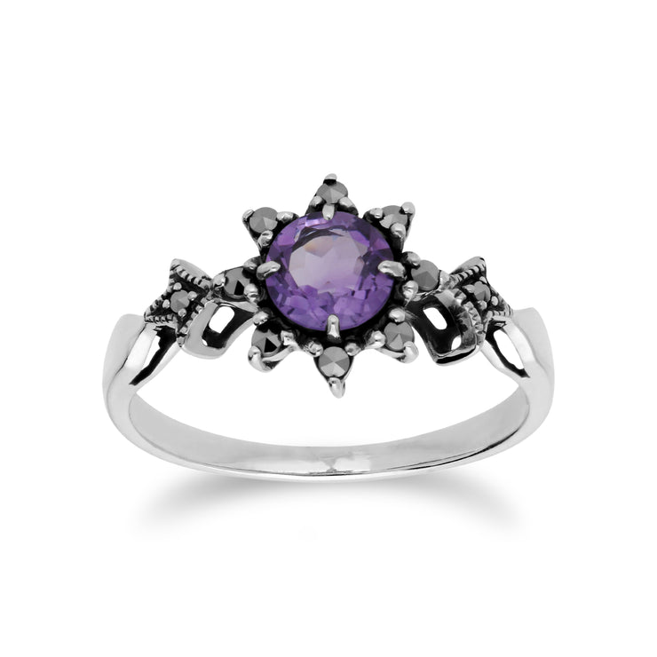 Art Deco Style Round Amethyst & Marcasite Floral Ring in 925 Sterling Silver