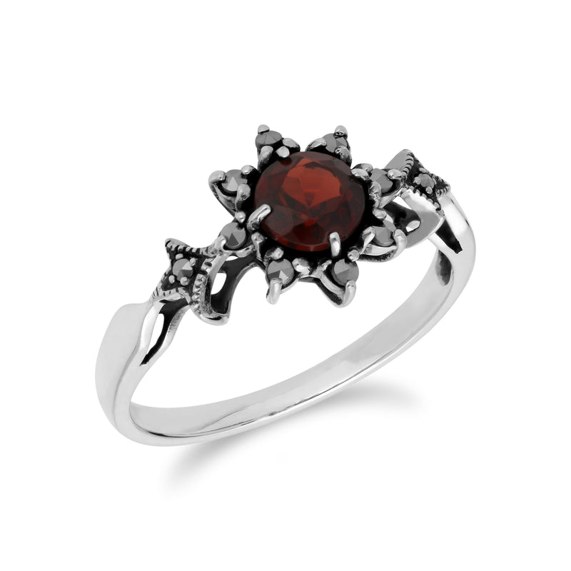 Art Deco Style Round Garnet & Marcasite Floral Ring in 925 Sterling Silver