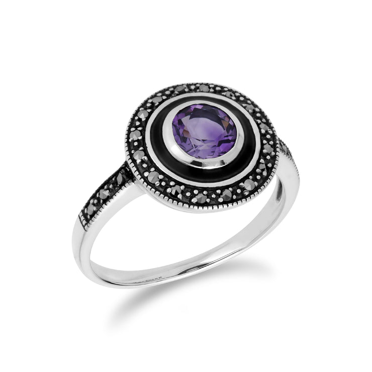 Art Deco Style Round Amethyst & Black Enamel Halo Ring in 925 Sterling Silver