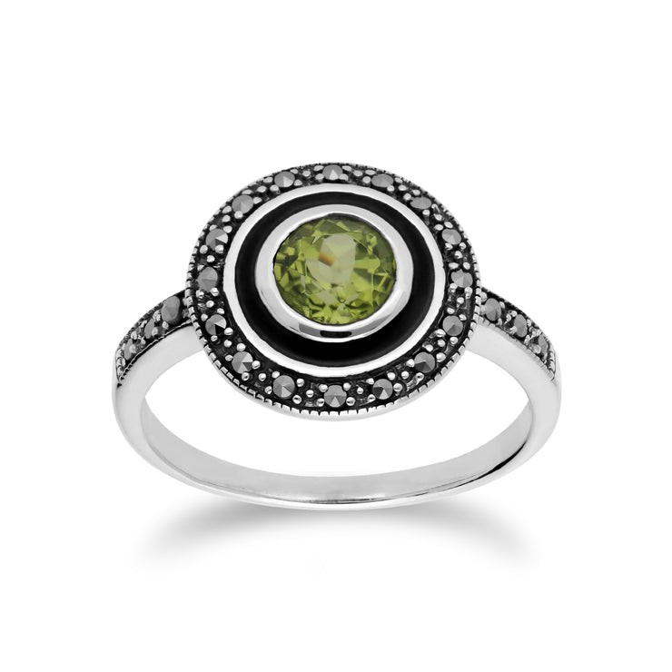 Art Deco Style Round Peridot & Black Enamel Halo Ring in 925 Sterling Silver