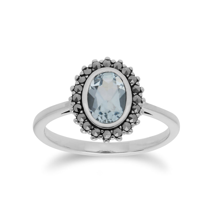 Art Deco Style Oval Blue Topaz & Marcasite Halo Ring in 925 Sterling Silver