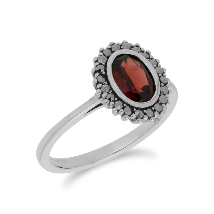 Art Deco Style Oval Garnet & Marcasite Halo Ring in 925 Sterling Silver