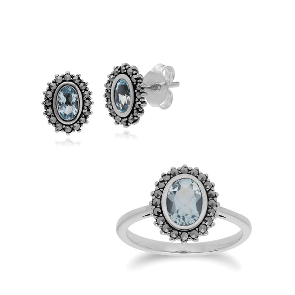 Art Deco Blue Topaz & Marcasite Halo Stud Pendant & Ring Set Image 1