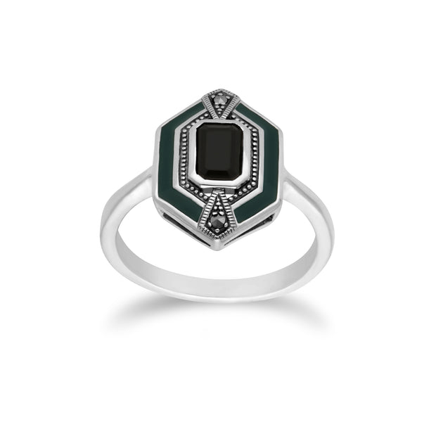 Art Deco Style Octagon Black Onyx, Marcasite & Green Enamel hexagon Ring in 925 Sterling Silver