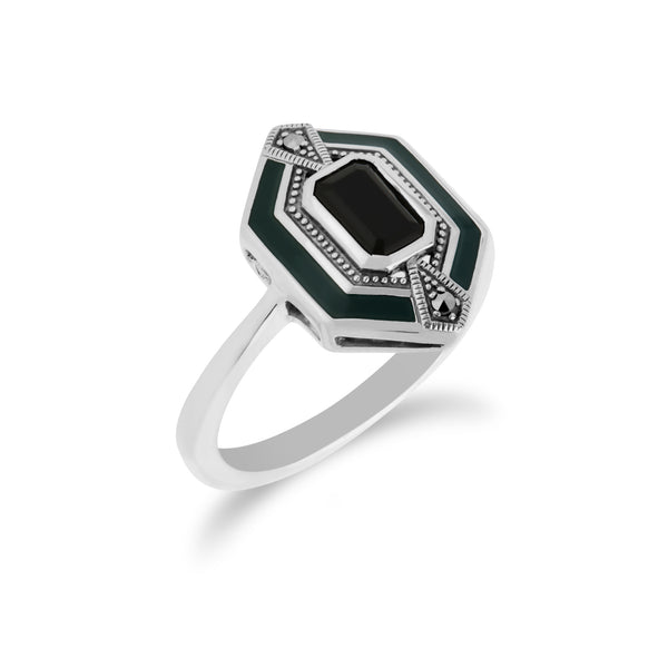 Art Deco Style Octagon Black Onyx, Marcasite & Black Enamel hexagon Ring in 925 Sterling Silver