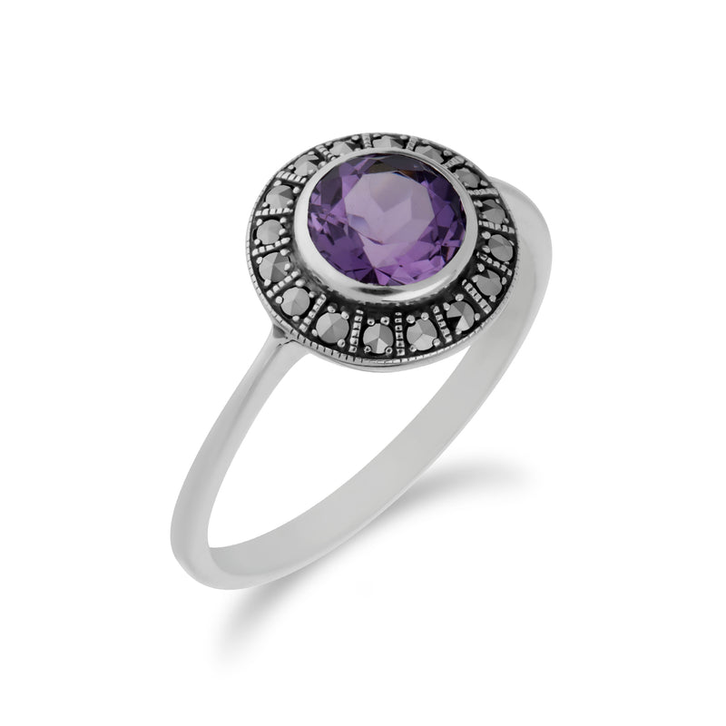 Art Deco Style Round Amethyst & Marcasite Silver  Halo Ring