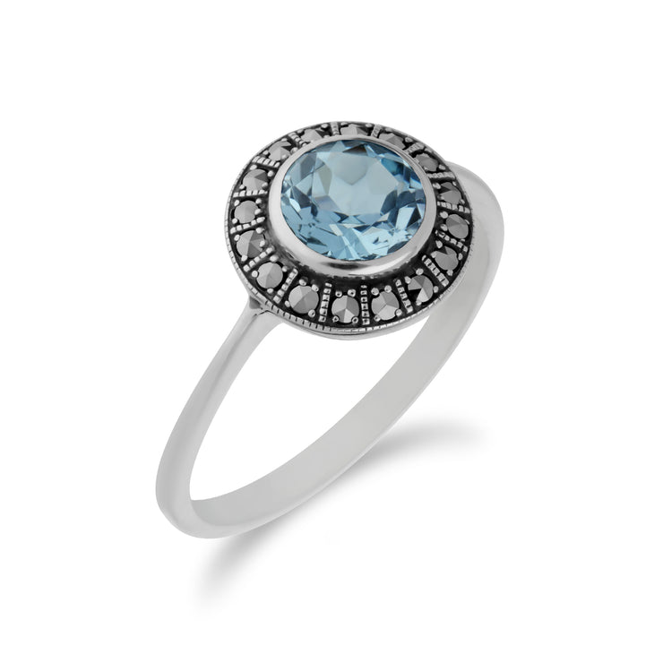 Art Deco Style Round Blue Topaz & Marcasite Silver  Halo Ring