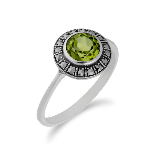 Art Deco Style Round Peridot & Marcasite Halo Ring in 925 Sterling Silver