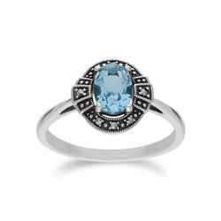 Art Deco Style Oval Blue Topaz & Marcasite Silver Halo Ring