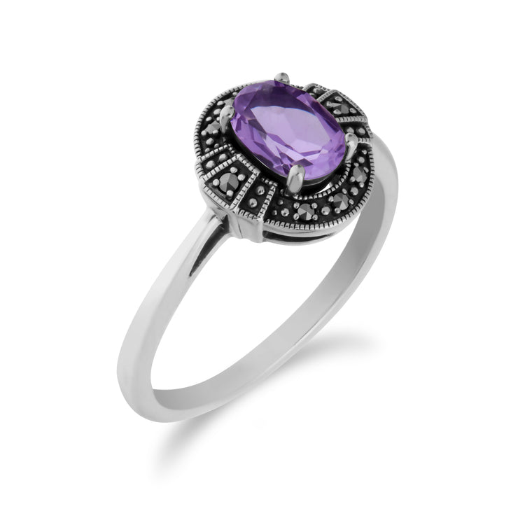 Art Deco Style Oval Amethyst & Marcasite Silver  Halo Ring