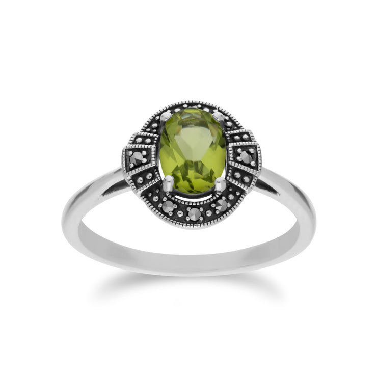 Art Deco Style Oval Peridot & Marcasite Halo Ring in 925 Sterling Silver