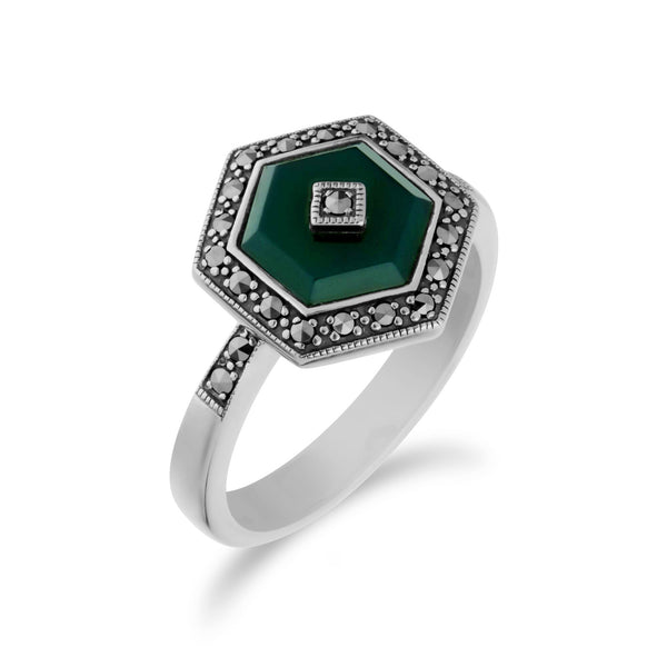 Art Deco Style Green Chalcedony & Marcasite Hexagon Ring in 925 Sterling Silver