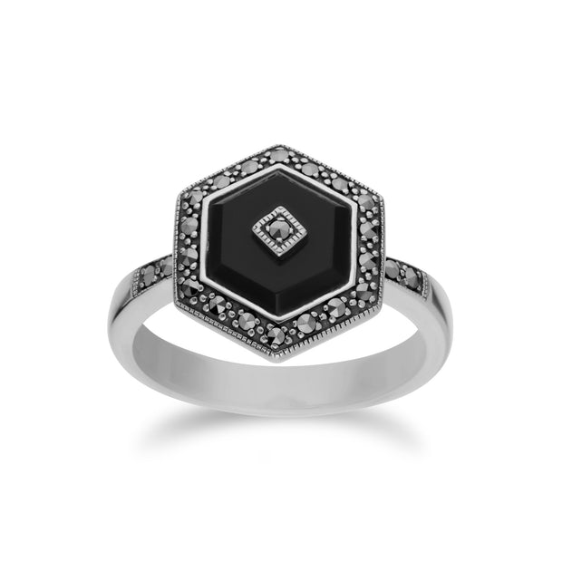 Art Deco Style Black Onyx & Marcasite Silver  Hexagon Ring