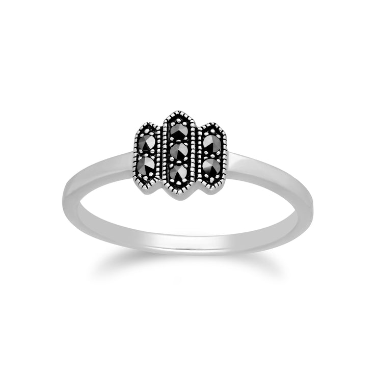 Art Deco Style Round Marcasite Triple Hexagon Ring in 925 Sterling Silver