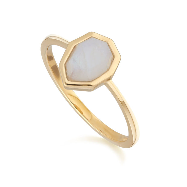 Irregular B Gem Rainbow Moonstone Ring in Gold Plated Sterling Silver