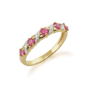 10ct Yellow Gold Ruby & Diamond Half Eternity Ring