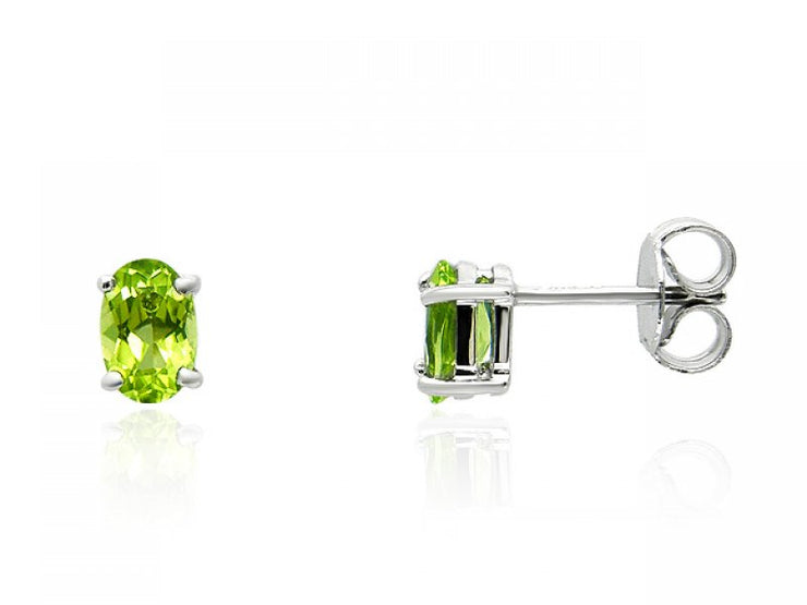 Classic Carat Oval Peridot Stud Earrings in 9ct White Gold