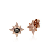 Rose Gold Plated Round Marcasite Double Star Stud Earrings in 925 Sterling Silver