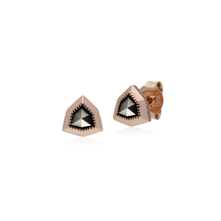 Rose Gold Plated Shield Marcasite Stud Earrings in 925 Sterling Silver