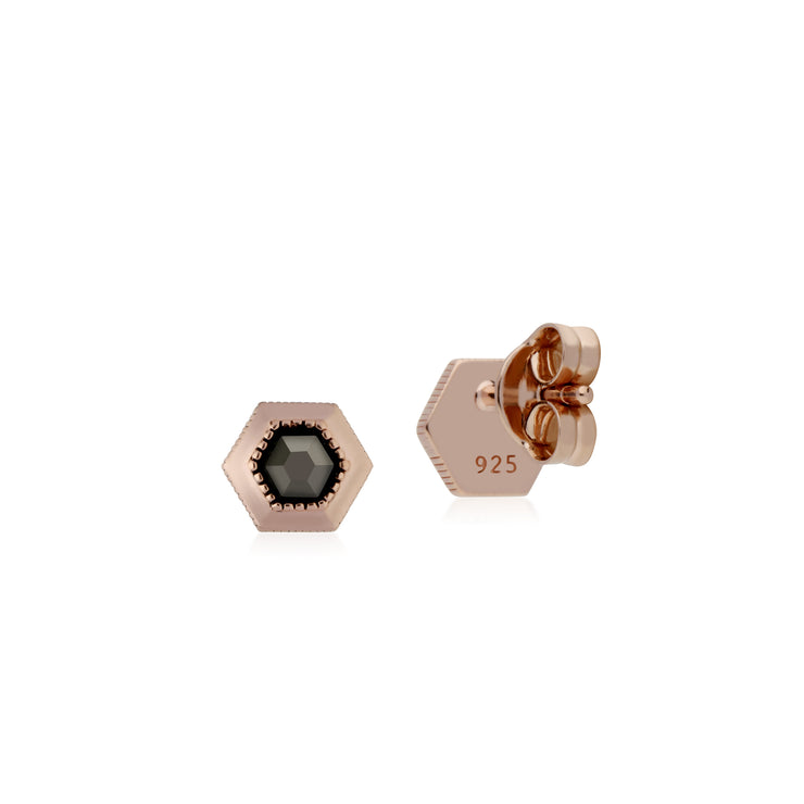 Rose Gold Plated Hexagon Marcasite Stud Earrings in 925 Sterling Silver