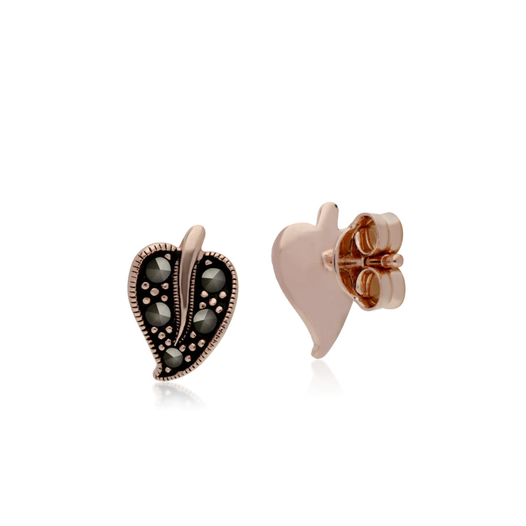 Rose Gold Plated Round Marcasite Leaf Stud Earrings in 925 Sterling Silver