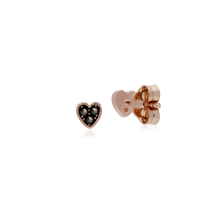 Rose Gold Plated Round Marcasite Heart Stud Earrings in 925 Sterling Silver
