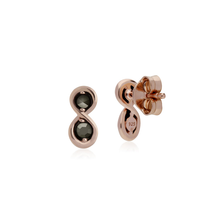 Rose Gold Plated Round Marcasite Infinity Stud Earrings in 925 Sterling Silver