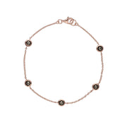 Rose Gold Plated Round Marcasite 5 Stone Bracelet in 925 Sterling Silver
