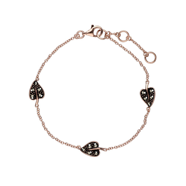 Rose Gold Plated Round Marcasite Three Leaf Bracelet in 925 Sterling Silver