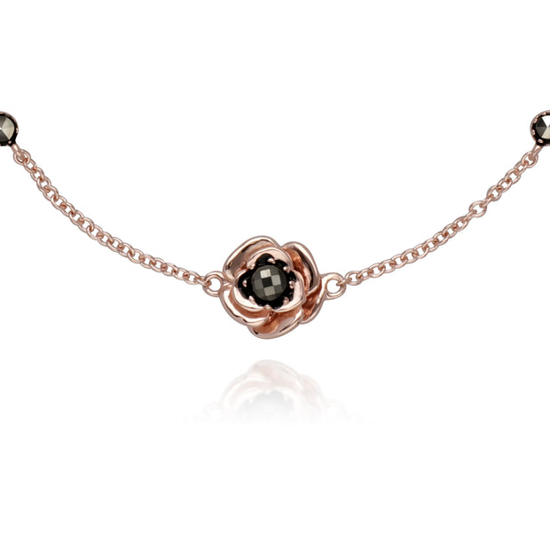 Rose Gold Plated Round Marcasite Floral Rose Bracelet in 925 Sterling Silver