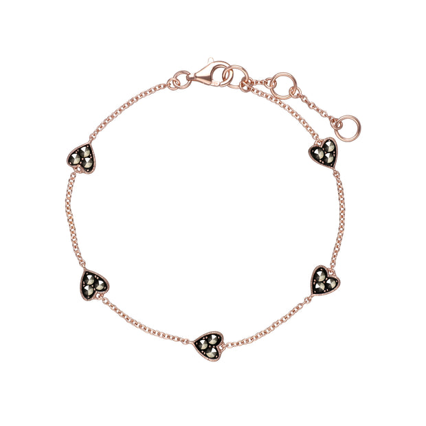 Rose Gold Plated Round Marcasite 5 Heart Bracelet in 925 Sterling Silver