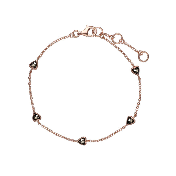Rose Gold Plated Round Marcasite 5 Small Heart Bracelet in 925 Sterling Silver