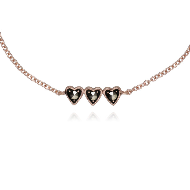 Rose Gold Plated Round Marcasite Three Heart Bracelet in 925 Sterling Silver