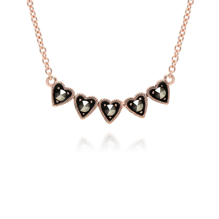 Rose Gold Plated Round Marcasite 5 Small Heart Necklace in 925 Sterling Silver