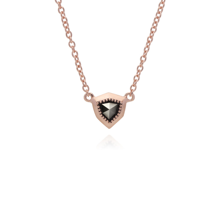 Rose Gold Plated Shield Marcasite Necklace in 925 Sterling Silver